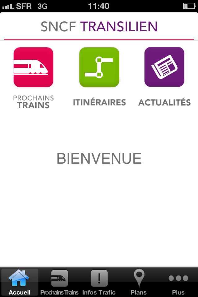 Nouvelle appmication SNCF Transilien