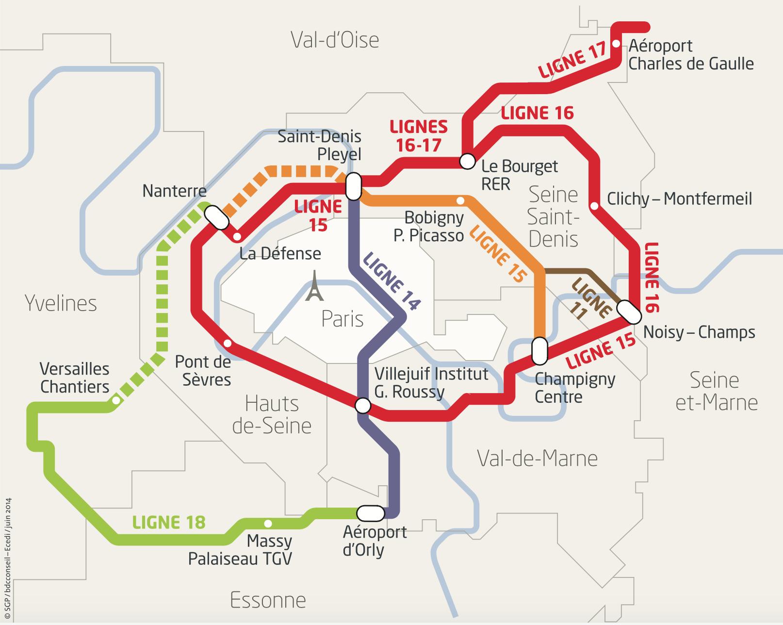 b7cd4fa268f56 carte-grand-paris. Cela représente 200 kilomètres de lignes de métro  automatique mais également la construction de 69 nouvelles ...