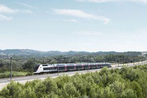 TGV en ligne dans paysage