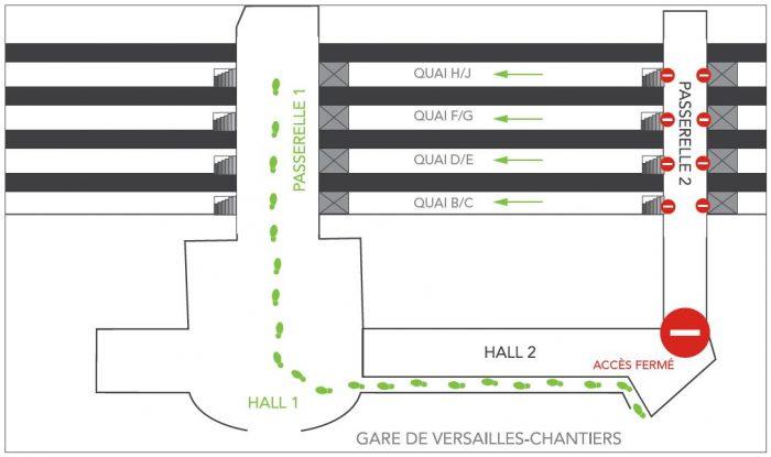 Fermeture du hall 2 et de la passerelle 2 à Versailles-Chantiers