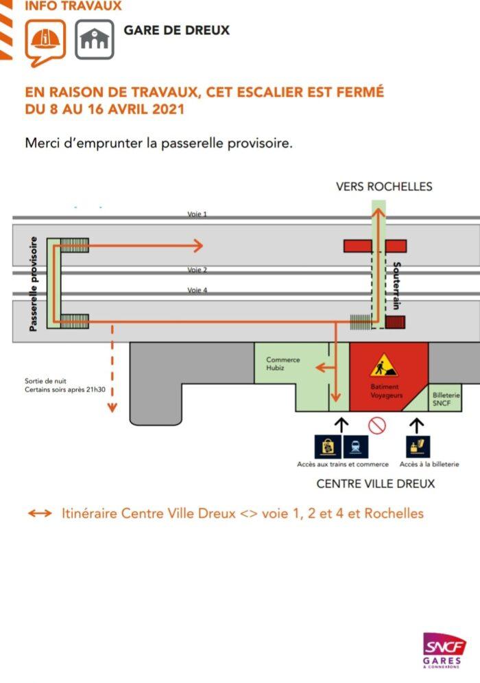 Travaux Dreux 2021 - Cheminement en gare entre le 8 et le 16 avril