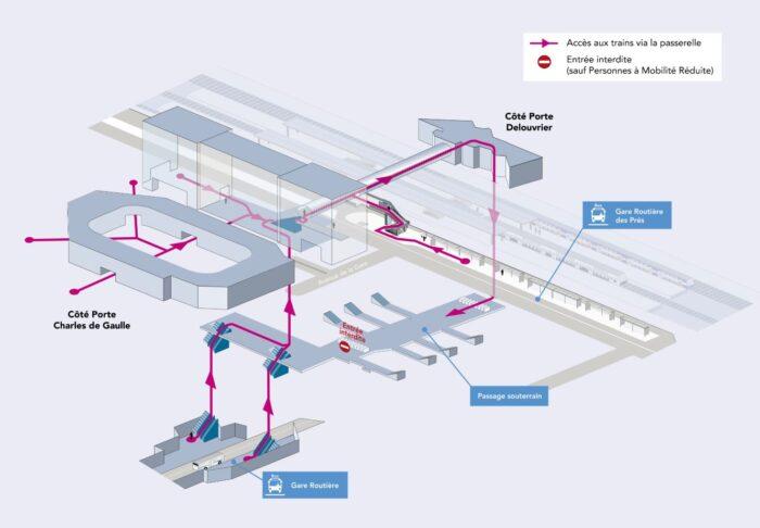 Modification du parcours en gare - 2021 - Saint-Quentin-en-Yvelines - Travaux de modernisation et de mise en accessibilité