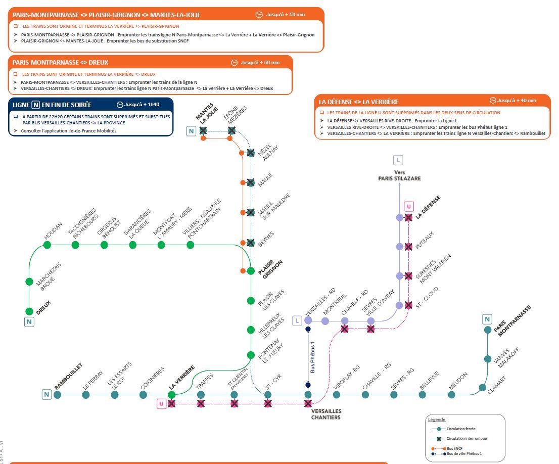 Travaux sur les lignes N et U - Les 1 et 2 mai 2021 - Samedi avant 13h30 - Dimanche après 13h30