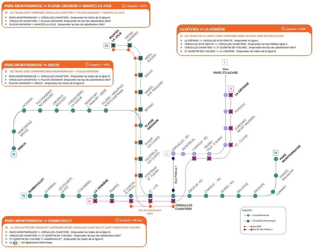 Travaux sur les lignes N et U - Les 1 et 2 mai 2021 - Entre samedi 13h30 et dimanche 13h30