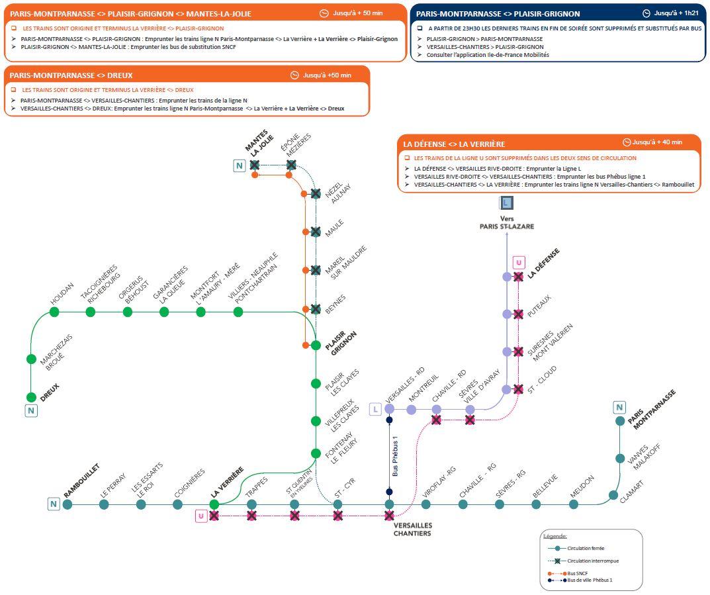 Travaux sur les lignes N et U - Les 8 et 9 mai 2021