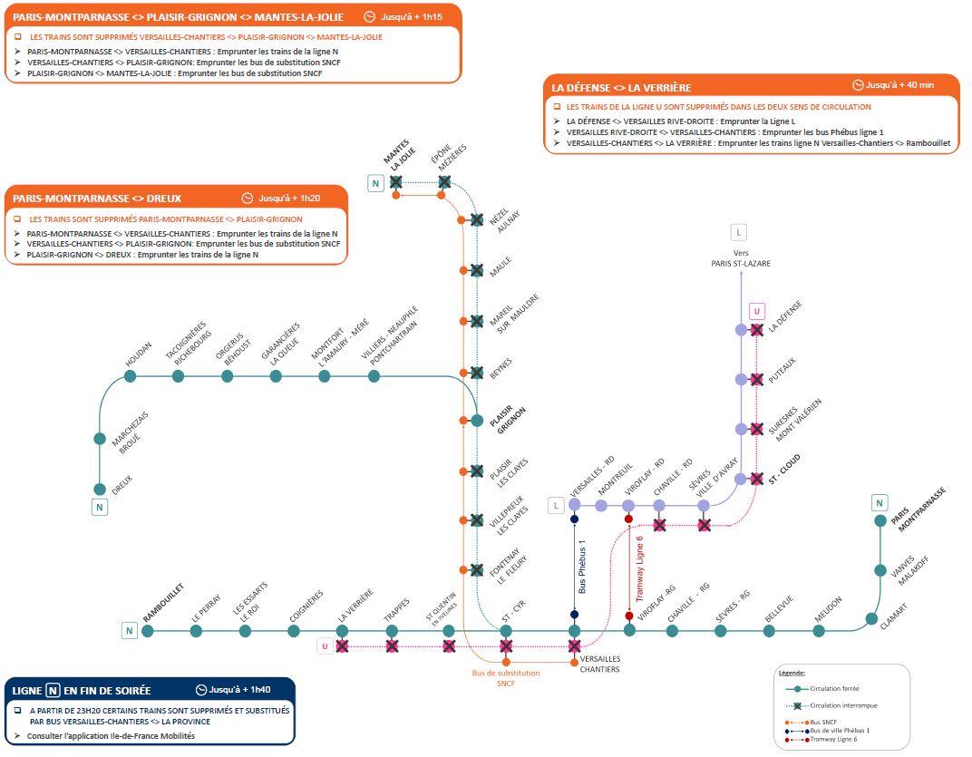 Travaux sur les lignes N et U - Les 29 et 30 mai 2021