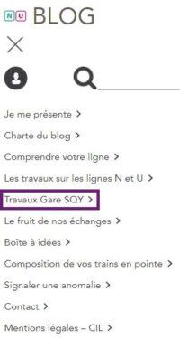 Menu blog - Travaux gare Saint-Quentin-en-Yvelines - Version mobile