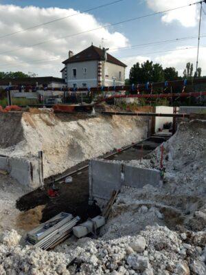 Futur souterrain en gare de Maule - excavation terminée